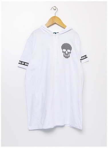 Funky Rocks Funky Rocks Kapüşon Yaka Beyaz T-Shirt Beyaz